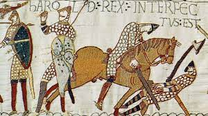 King Harold with an arrow in his eye. See - Bayeux Tapestry Museum Normandy
